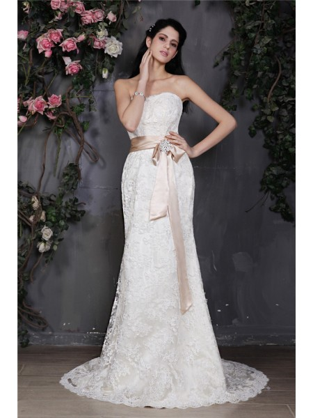 Sheath/Column Sash/Ribbon/Belt Strapless Court Train Sleeveless Lace Wedding Dresses