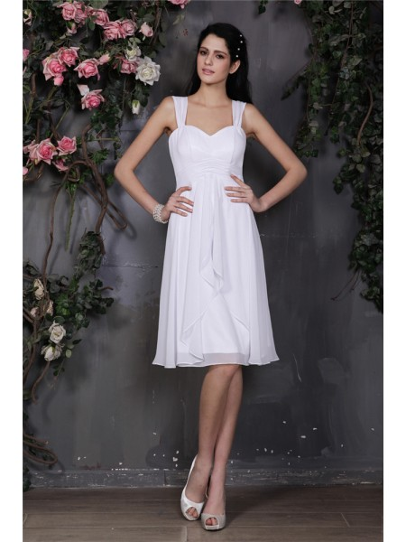 Sheath/Column Pleats Straps Knee-Length Sleeveless Chiffon Bridesmaid Dresses