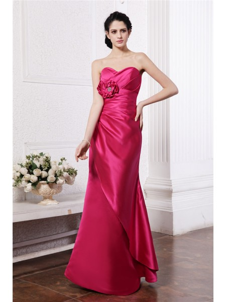 Sheath/Column Pleats Hand-Made Flower Sweetheart Floor-Length Sleeveless Elastic Woven Satin Bridesmaid Dresses