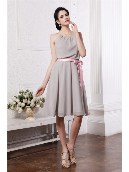 Sheath/Column Sash/Ribbon/Belt Scoop Knee-Length Sleeveless Chiffon Bridesmaid Dresses