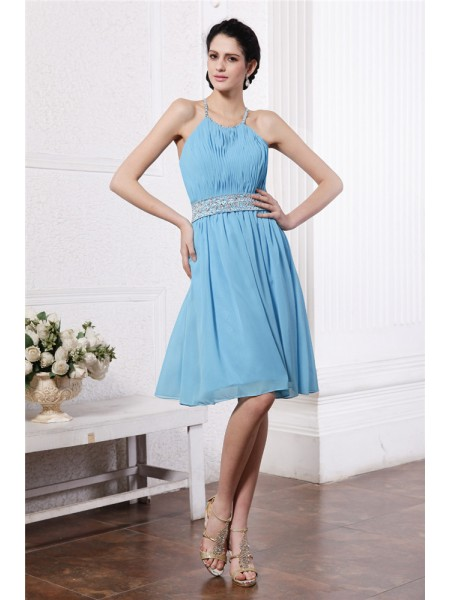Sheath/Column Pleats Beading Halter Knee-Length Sleeveless Chiffon Bridesmaid Dresses