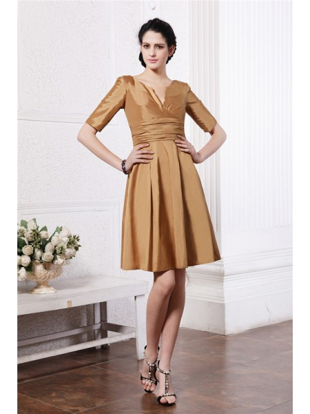 Sheath/Column Pleats V-neck Short/Mini 1/2 Sleeves Taffeta Bridesmaid Dresses
