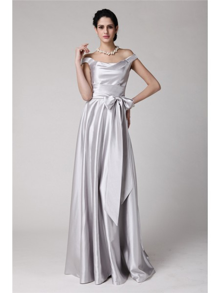 Sheath/Column Sash/Ribbon/Belt Off-the-Shoulder Floor-Length Sleeveless Elastic Woven Satin Dresses