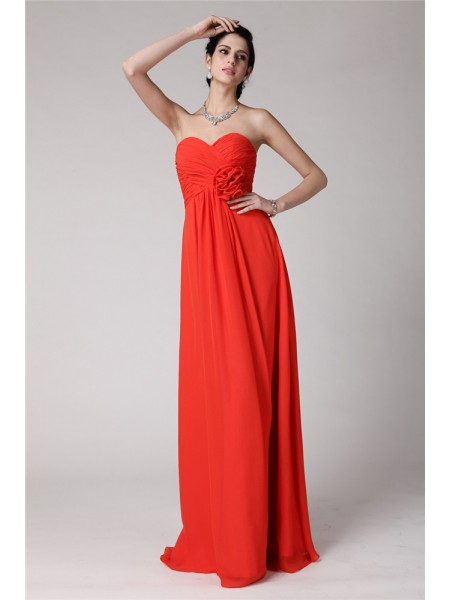 Sheath/Column Pleats Hand-Made Flower Sweetheart Floor-Length Sleeveless Chiffon Bridesmaid Dresses