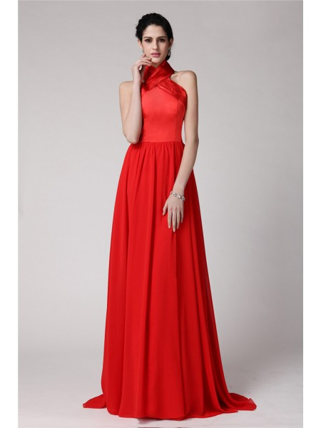Sheath/Column Pleats Halter Floor-Length Sleeveless Chiffon Elastic Woven Satin Bridesmaid Dresses