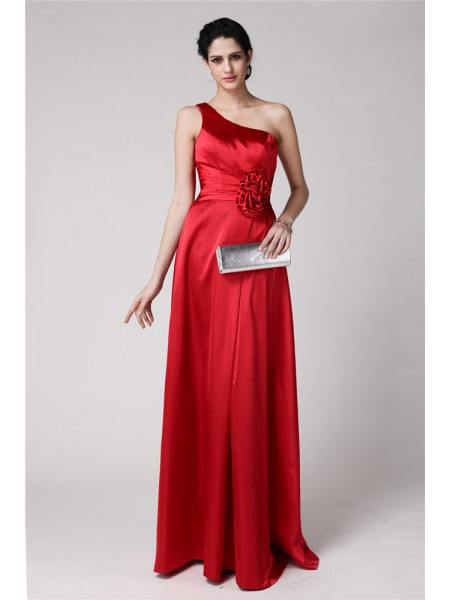 Sheath/Column Pleats Hand-Made Flower One-Shoulder Floor-Length Sleeveless Elastic Woven Satin Bridesmaid Dresses