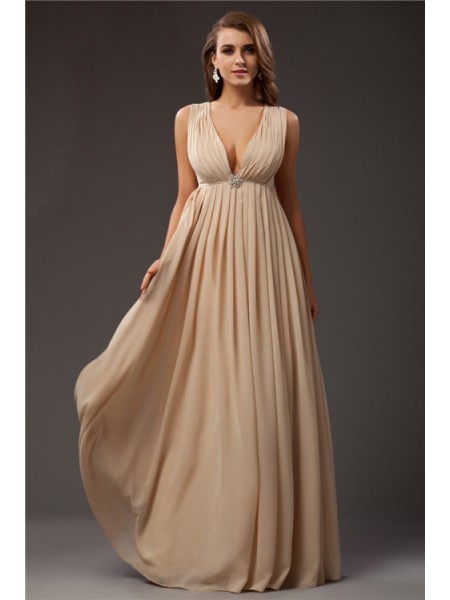A-Line/Princess Beading V-neck Floor-Length Sleeveless Chiffon Dresses