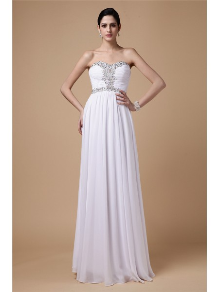 Sheath/Column Pleats Beading Strapless Floor-Length Sleeveless Chiffon Dresses