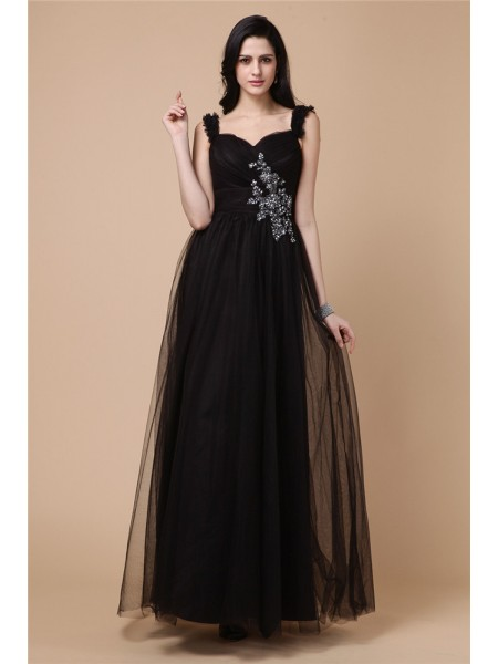 A-Line/Princess Beading Applique Straps Ankle-Length Sleeveless Net Dresses