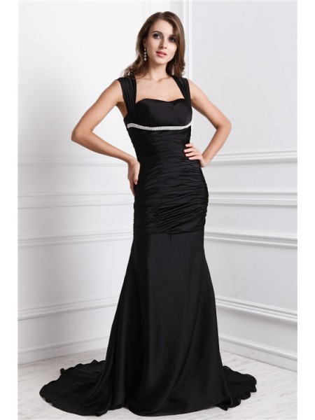 Trumpet/Mermaid Beading Straps Sweep/Brush Train Sleeveless Charmeuse Dresses