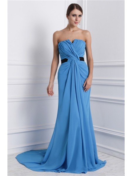 A-Line/Princess Ruffles Strapless Sweep/Brush Train Sleeveless Chiffon Dresses