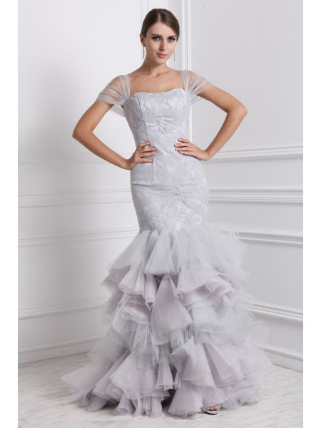 Trumpet/Mermaid Ruffles Straps Floor-Length Short Sleeves Organza Dresses