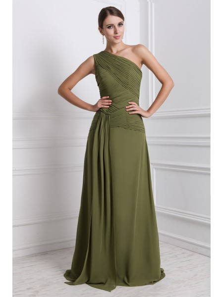 A-Line/Princess Ruffles One-Shoulder Floor-Length Sleeveless Chiffon Dresses