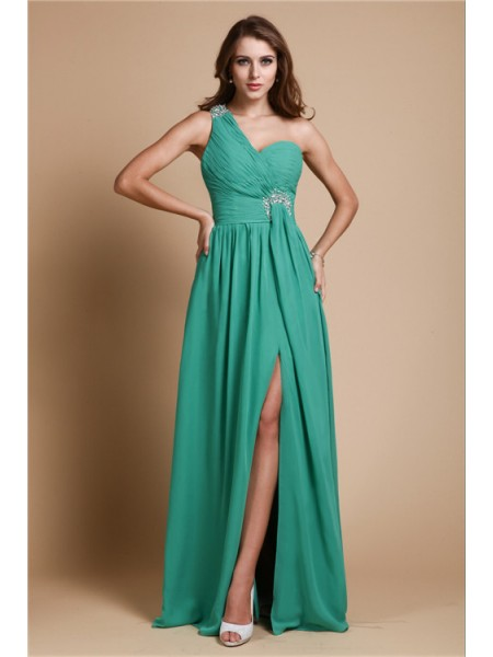 A-Line/Princess Beading One-Shoulder Floor-Length Sleeveless Chiffon Dresses