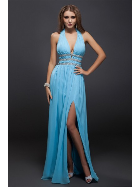 Sheath/Column Beading V-neck Floor-Length Sleeveless Chiffon Dresses