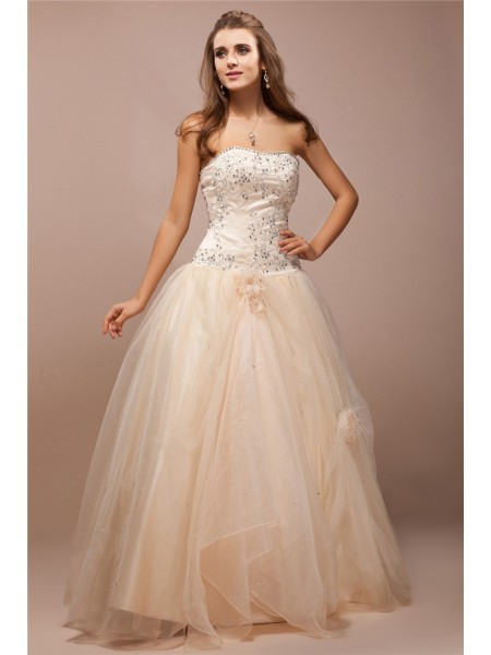 Ball Gown Beading Lace Strapless Floor-Length Sleeveless Net Satin Dresses