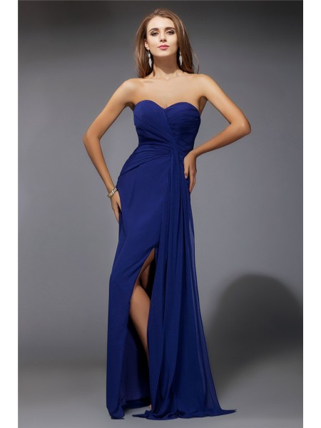 Sheath/Column Ruffles Sweetheart Floor-Length Sleeveless Chiffon Dresses