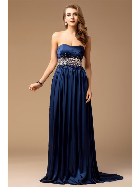 Sheath/Column Rhinestone Strapless Sweep/Brush Train Sleeveless Silk like Satin Dresses