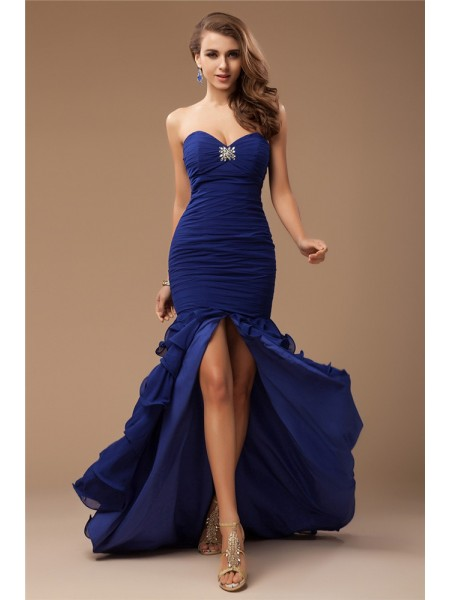 Trumpet/Mermaid Ruffles Beading Sweetheart Sweep/Brush Train Sleeveless Chiffon Dresses