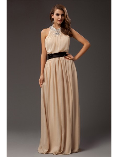 Sheath/Column Beading Jewel Floor-Length Sleeveless Chiffon Dresses