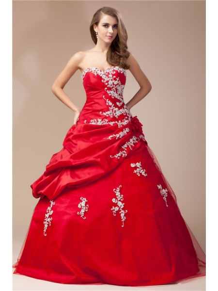 Ball Gown Beading Lace Sweetheart Floor-Length Sleeveless Taffeta Net Dresses