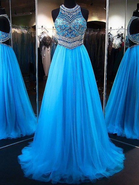 A-Line/Princess Tulle Beading Sweep/Brush Train Sleeveless Jewel Dresses