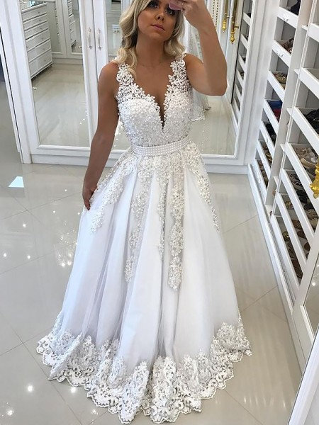 A-Line/Princess Tulle Lace Floor-Length Sleeveless V-Neck Dresses