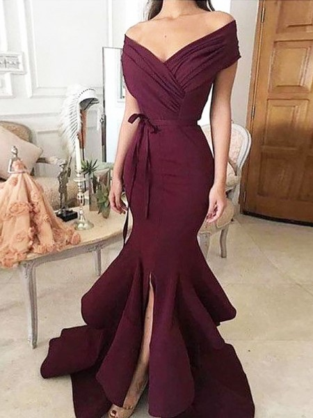 Trumpet/Mermaid Off-the-Shoulder Floor-Length Ruched Satin Dress