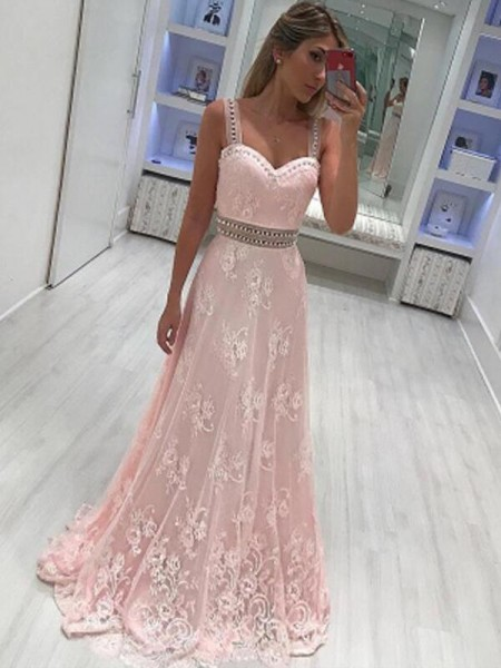 A-Line Sweetheart Floor-Length With Applique Satin Dress