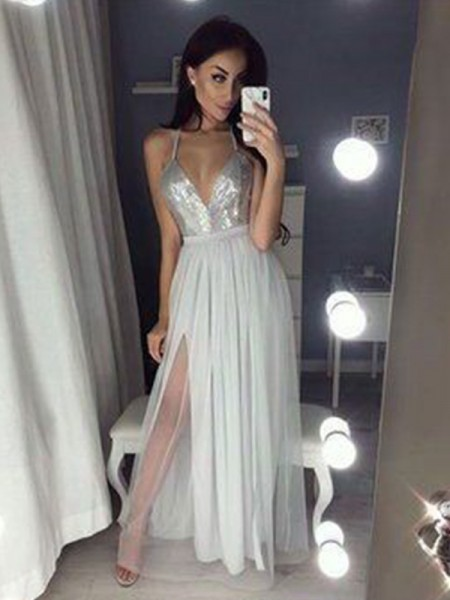 A-Line/Princess Chiffon Beading Floor-Length Sleeveless V-neck Dresses