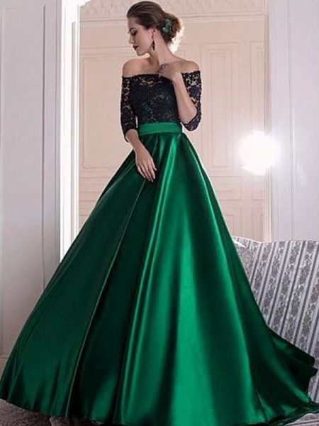 A-Line/Princess Satin Ruffles Sweep/Brush Train 3/4 Sleeves Off-the-Shoulder Dresses