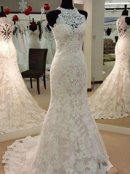 Sheath/Column Scoop Sweep/Brush Train Applique Lace Sleeveless Wedding Dresses