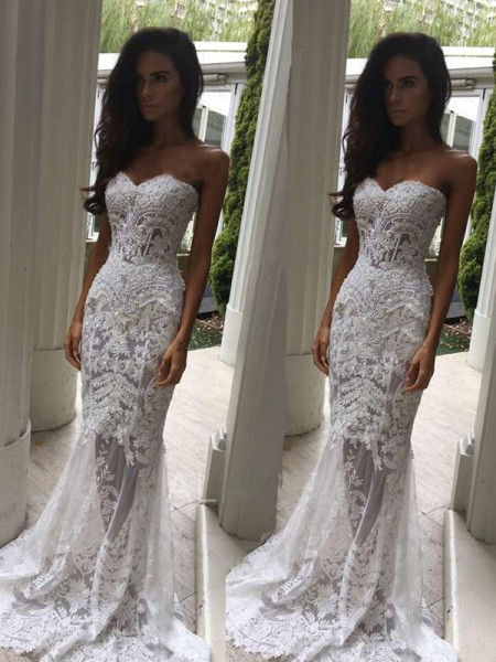 Trumpet/Mermaid Sweetheart Court Train Applique Sleeveless Wedding Dresses With Lace
