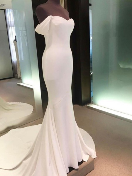 Sheath/Column Short Sleeves Court Train Off-the-Shoulder Spandex Wedding Dresses