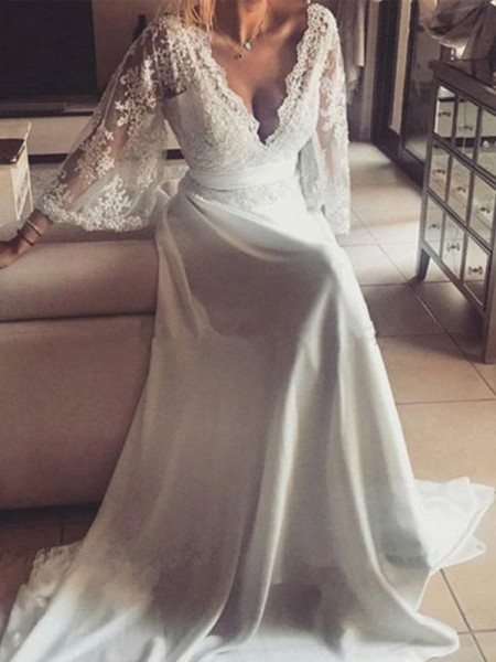 A-Line/Princess Long Sleeves Sash/Ribbon/Belt Court Train V-neck Lace Wedding Dresses