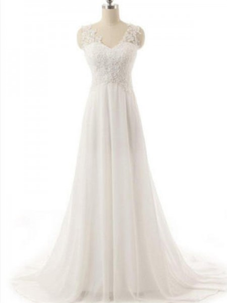 A-Line/Princess Sleeveless V-neck Sweep/Brush Train Chiffon Wedding Dresses With Lace