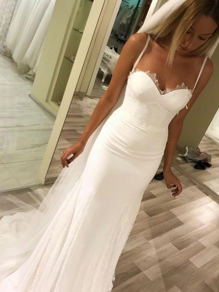 Sheath/Column Sweetheart Sleeveless Spaghetti Straps Sweep/Brush Train Satin Wedding Dresses