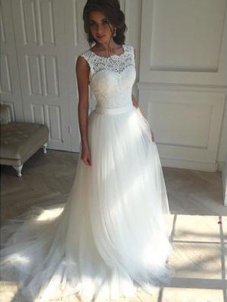 A-Line/Princess Square Court Train Tulle Sleeveless Wedding Dresses