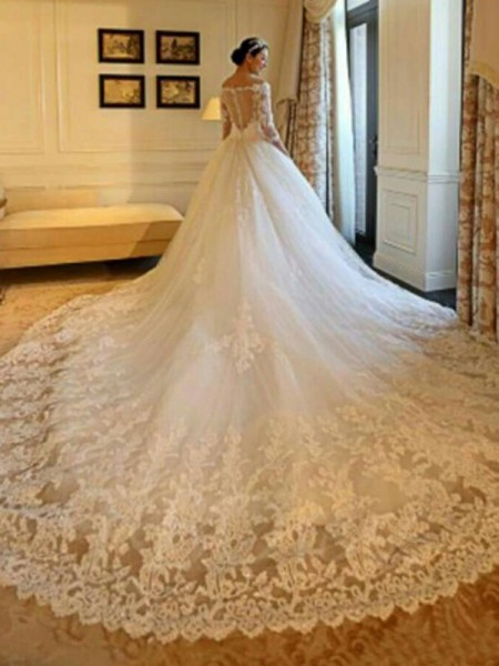 Ball Gown Cathedral Train 3/4 Sleeves Applique Tulle Off-the-Shoulder Beading Wedding Dresses