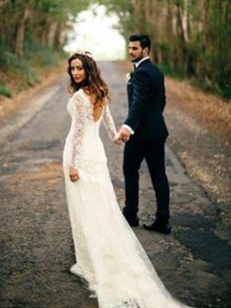 Sheath/Column V-neck Court Train Applique Long Sleeves Wedding Dresses With Lace