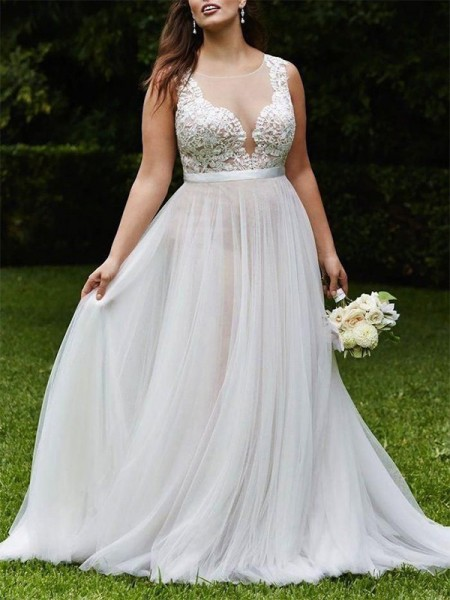 A-Line/Princess Sleeveless Scoop Court Train Lace Tulle Wedding Dresses