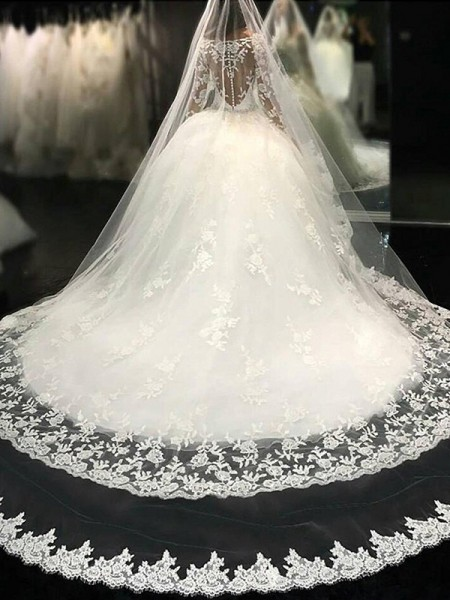 Ball Gown Scoop Lace Cathedral Train Applique Tulle Wedding Dresses Long Sleeves