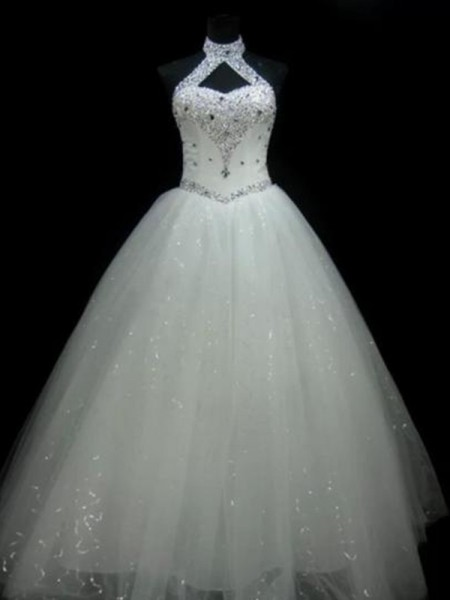 Ball Gown Halter Floor-Length Beading Sequin Tulle Sleeveless Wedding Dresses