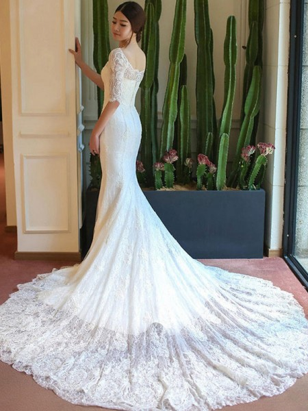 Trumpet/Mermaid Applique 1/2 Sleeves Square Cathedral Train Lace Wedding Dresses