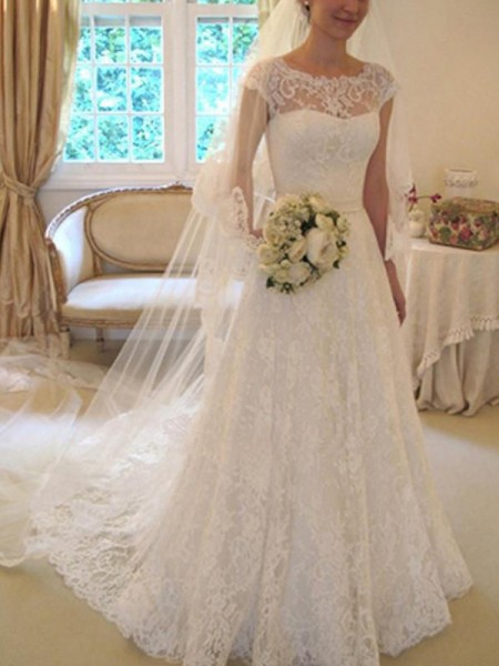 A-Line/Princess Short Sleeves Sash/Ribbon/Belt Square Court Train Applique Lace Wedding Dresses