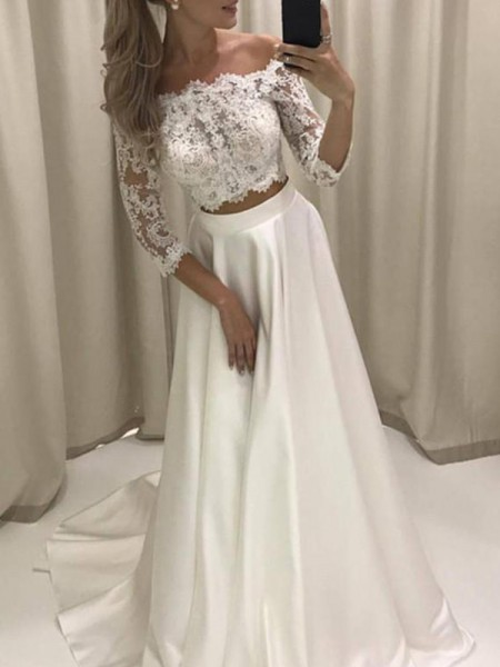 A-Line/Princess Off-the-Shoulder 3/4 Sleeves Court Train Applique Satin Wedding Dresses
