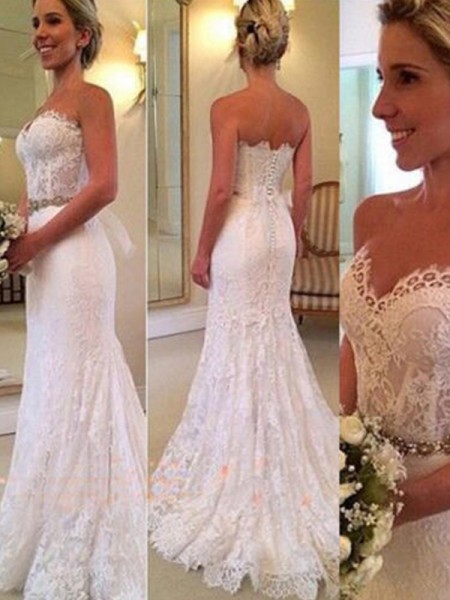 Trumpet/Mermaid Sweep/Brush Train Sleeveless Sweetheart Applique Lace Wedding Dresses
