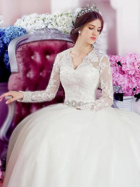 A-Line/Princess Cathedral Train Applique Lace Tulle Long Sleeves V-neck Wedding Dresses