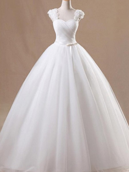 Ball Gown Sleeveless Square Ruffles Tulle Floor-Length Wedding Dresses