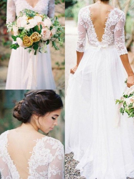 A-Line/Princess 1/2 Sleeves Floor-Length Applique V-neck Chiffon Wedding Dresses With Lace